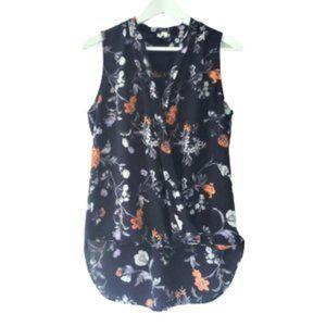 Dynamite navy floral sleeveless blouse